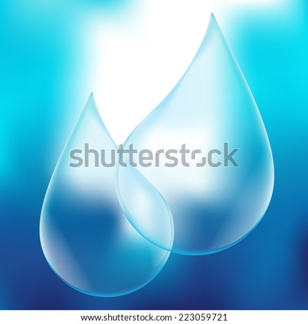Vector Transparency Blue Shiny Water Drop on the Blue Background . Logo Design . - stock vector