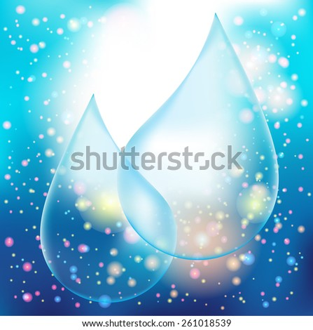 Vector Transparency Blue Shiny Water Drop on the Blue Background with Light Effects. Logo Design . - stock vector