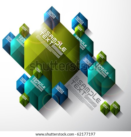 Vector Transparent Cube Design - stock vector