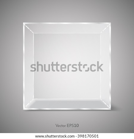 Vector Transparent Glass Cube - stock vector