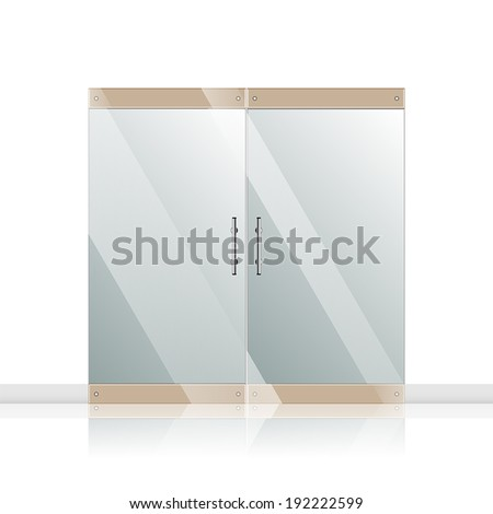 Vector transparent glass door isolated on white. EPS 10 - stock vector