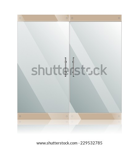 Vector transparent glass doors with mirror image in steel frame isolated on white wall. Architectural interior symbol.  EPS 10 - stock vector