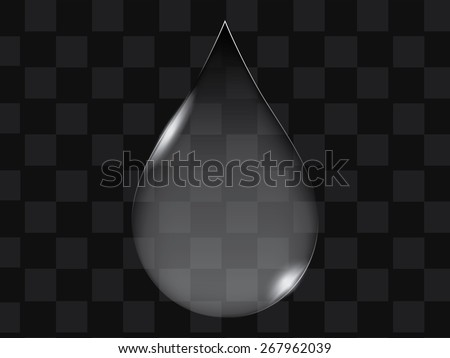 Vector transparent glass water drop or button shape - stock vector