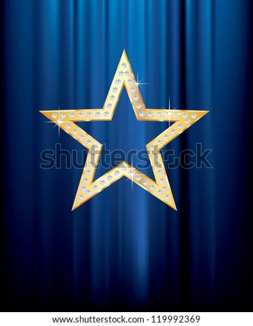 vector transparent golden star with diamonds on blue curtain - stock vector