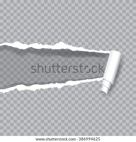 vector transparent ripped paper, layered and editable - stock vector