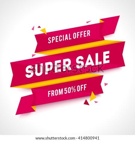 Vector Transparent SALE banner. Geometric Sale background. Super Sale illustration - stock vector