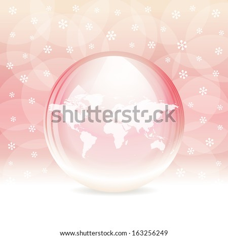 Vector transparent snow globe with map - stock vector