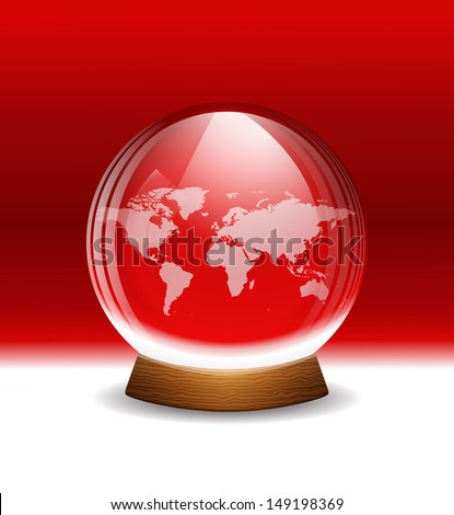 Vector transparent snow globe with map. Layered - stock vector