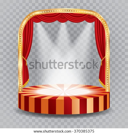 vector transparent spotlights on red circle stage - stock vector