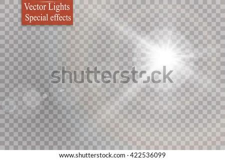 Vector transparent sunlight special lens flare light effect. - stock vector