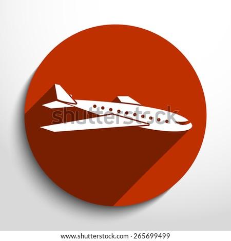 Vector travel airplane flat icon illustration. - stock vector