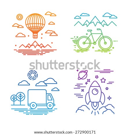 Vector travel and transportation concepts in trendy linear style - air balloon, bicycle, car and space ship - stock vector