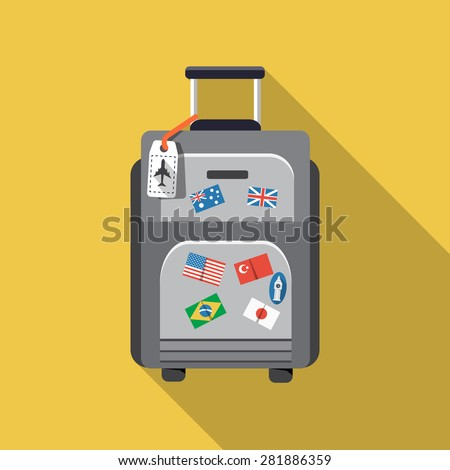 Vector Travel Bag Icon - stock vector