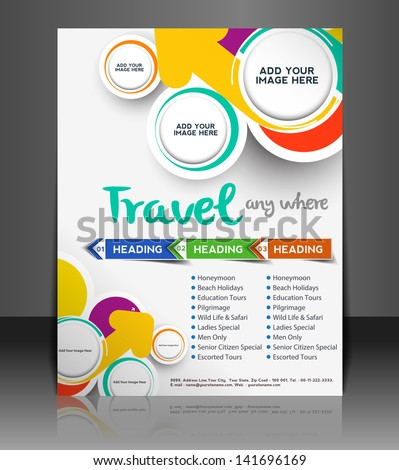 Vector Travel brochure, flyer, magazine cover & poster template - stock vector