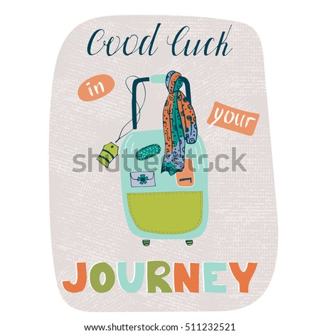 Vector Travel Card Template With Suitcase. Greeting Postcard With Hand  Drawn Lettering. Good Luck  Good Luck Card Template