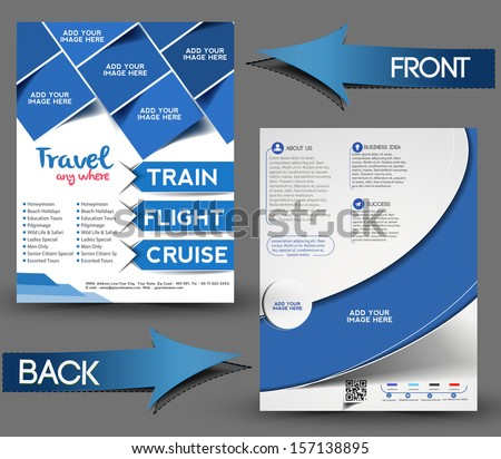 Vector Travel center brochure, flyer, magazine cover & poster template - stock vector