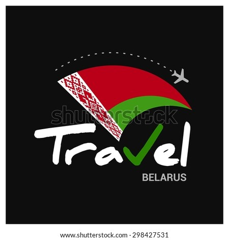 Vector travel company logo design - Country travel agency logo - Country Flag Travel and Tourism concept t shirt graphics - Travel Belarus Symbol - vector illustration - stock vector