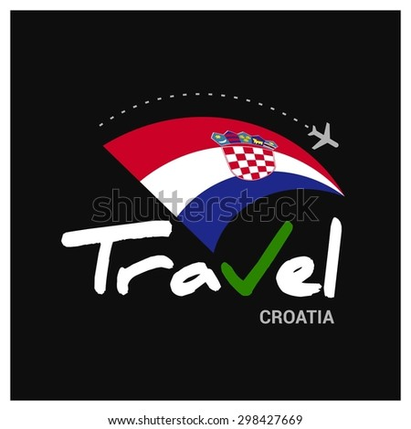 Vector travel company logo design - Country travel agency logo - Country Flag Travel and Tourism concept t shirt graphics - Travel Croatia Symbol - vector illustration - stock vector