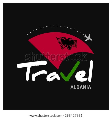 Vector travel company logo design - Country travel agency logo - Country Flag Travel and Tourism concept t shirt graphics - Travel Albania Symbol - vector illustration - stock vector