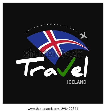 Vector travel company logo design - Country travel agency logo - Country Flag Travel and Tourism concept t shirt graphics - Travel Iceland Symbol - vector illustration - stock vector