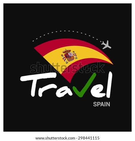 Vector travel company logo design - Country travel agency logo - Country Flag Travel and Tourism concept t shirt graphics - Travel Spain Symbol - vector illustration - stock vector