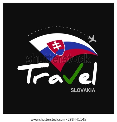 Vector travel company logo design - Country travel agency logo - Country Flag Travel and Tourism concept t shirt graphics - Travel Slovakia Symbol - vector illustration - stock vector