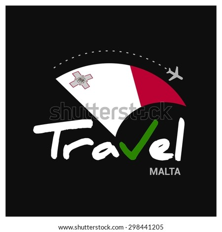 Vector travel company logo design - Country travel agency logo - Country Flag Travel and Tourism concept t shirt graphics - Travel Malta Symbol - vector illustration - stock vector