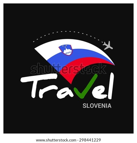Vector travel company logo design - Country travel agency logo - Country Flag Travel and Tourism concept t shirt graphics - Travel Slovenia Symbol - vector illustration - stock vector