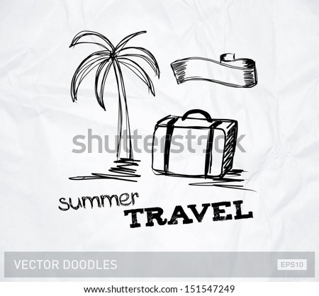 Vector travel doodle on crumpled paper - stock vector