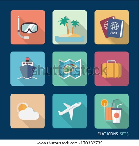 Vector travel flat icons. Set 3 - stock vector