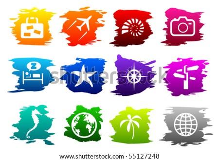 vector travel icon set - stock vector