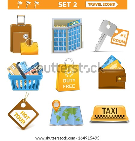 Vector travel icons set 2 - stock vector