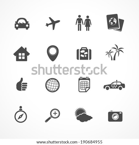 Vector Travel icons set. Black icons on white - stock vector