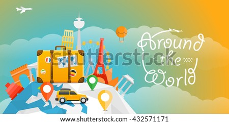 Vector travel illustration with the car. Around the world - stock vector