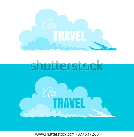 Vector travel logo with plane on the sky