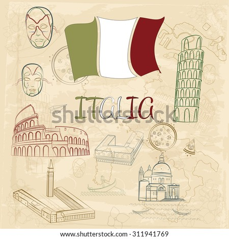 Vector travel set. Sightseeing in Italy.  - stock vector