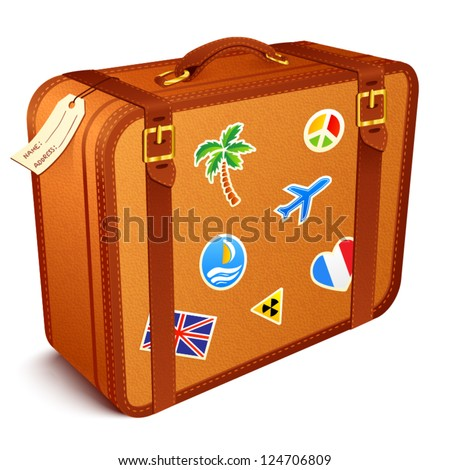 Vector traveler's brown vintage leather suitcase with stickers - stock vector