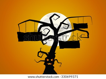 Vector : Tree and signs halloween background - stock vector