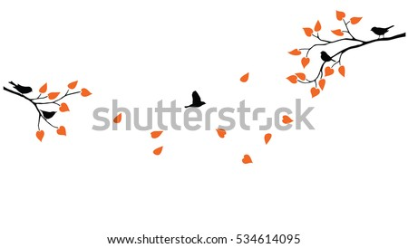 Vector tree branches with leaves and birds silhouettes