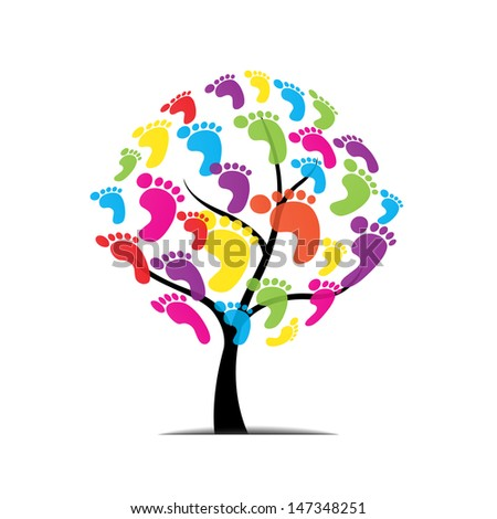 vector tree, foot, paw, print isolated on white background - stock vector