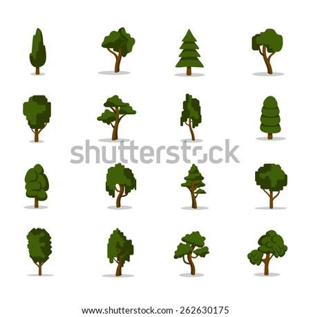 Vector tree icon set - stock vector