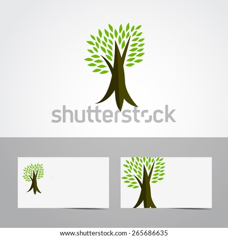 Vector tree icon with green leaves - eco concept vector. This graphic also represents environmental protection, nature conservation, eco friendly, renewable, sustainability, nature loving - stock vector