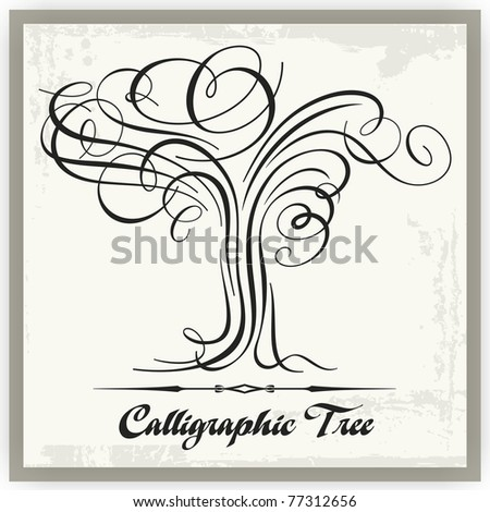 Vector tree illustration in exquisite calligraphic style. - stock vector