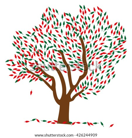 Vector tree illustration with green and red colored leaves. - stock vector