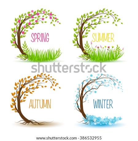Vector tree in four seasons - spring, summer, autumn, winter - stock vector