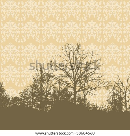 Vector tree landscape silhouette with damask wallpaper background and space for your text - stock vector
