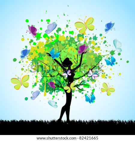 vector tree of butterfly and girl silhouette - stock vector