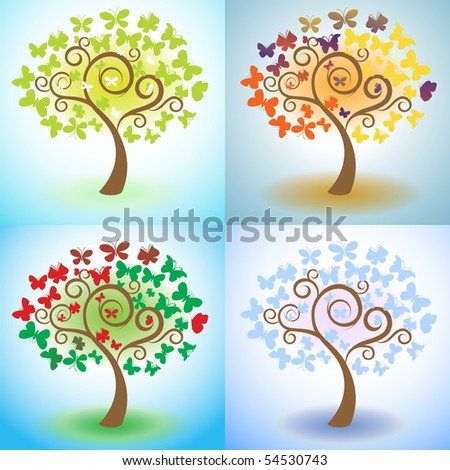 vector tree of butterfly, spring, summer, winter, autumn,