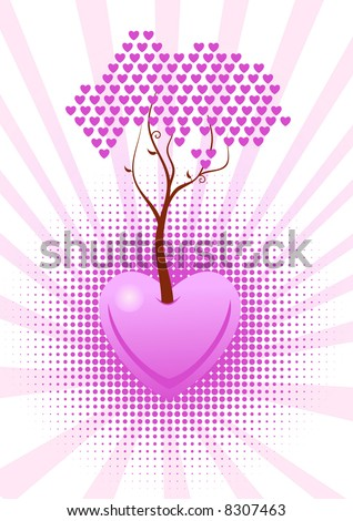 Vector tree of love with pink hearts - stock vector