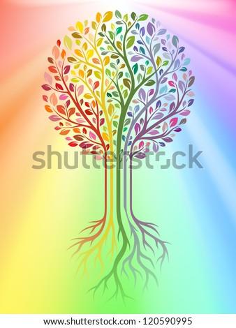 Vector tree on rainbow background - stock vector